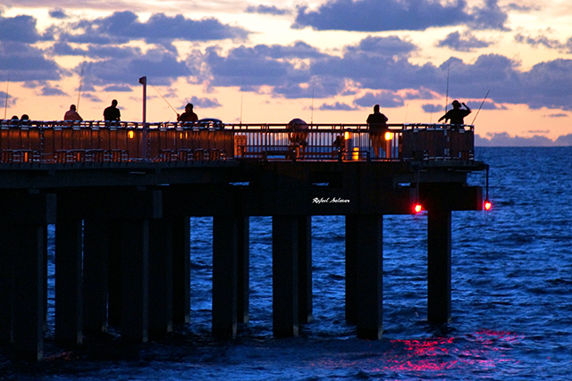 Early Fishing by Rafael Salazar Artist from Colombia  Photography taken by Rafael Salazar of an Early Fishing run at Deerfield Beach International Fishing Pier Captured with a Sony SLT-A77V Focal Length: 280mm in 35mm Film: 420mm Exposure time: 0.167s (1/6) ISO: 1600 Max Aperture: 4.97 COPYRIGHT NOTICE: ALL my art pieces on this website are protected by the U.S. and international copyright laws, all rights reserved. Each image here may not be copied, reproduced, manipulated or used in any way, without written permission of Rafael Salazar. 