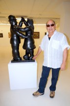 Rafael Salazar with Colombian artist Fernando Botero's artwork at the Rubell Art Gallery