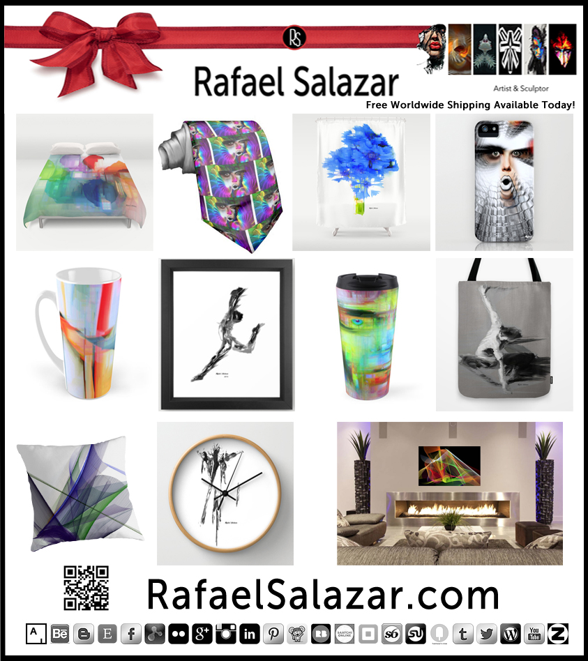 These Holidays Give the Gift of #Art - Plenty Artful Stocking Stuffers to Brighten Up Your Days and Your Loved Ones! http://RafaelSalazar.com or Visit http://society6.com/rafaelsalazar