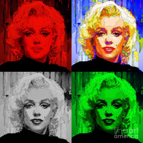 Marilyn Monroe - Quad. Pop Art by Rafael Salazar © 2015