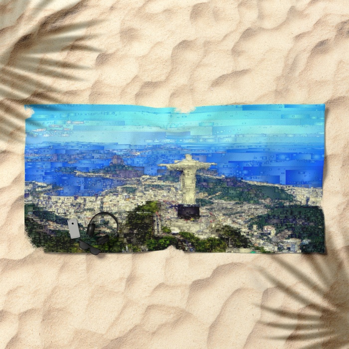 Cristo Rey Beach Towel by Rafael Salazar - Copyright 2016